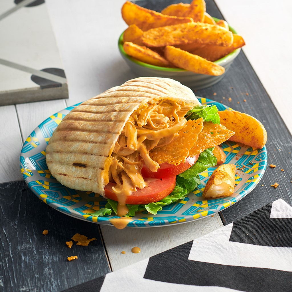 Crispy Cheese Pulled Chicken Pita